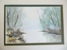 More details for original art watercolour painting landscape country scene trees water picture