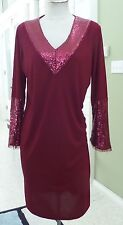 Gorgeous Dark Red Long Sleeve with Sequins Dress SZ L by Pamela Dennis