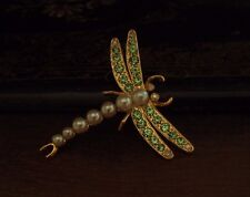 Vintage Peridot Green Crystal and Pearl Dragonfly Insect Brooch. Signed