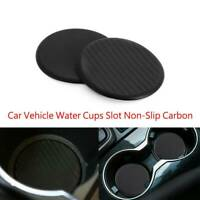 2Pc Black Car Vehicle Water Cups Slot Non-Slip Carbon Fiber Look Mat Accessories
