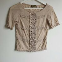 Review Vintage 90s-Y2K Beige Cotton Top 8 (Fit 6 XS) Sheer Lace Panel Floral Tee