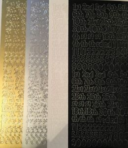 PEEL OFF STICKERS - BIRTHDAY NUMBERS - SILVER, GOLD, BLACK, WHITE - 626
