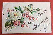 CPA. 1903. Joie Santé Bonheur. Roses. Coeur de Marie. Paillettes.