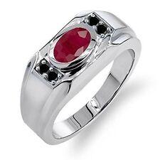 925 Sterling Silver Ruby & Black Onyx Gemstone Men's Rings Us 7 8 9