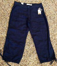 Joe Fresh Navy Blue Cropped Capri Pants Linen Cotton Blend Women's Size 8