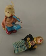 TWO 1950'S-1960'S TIN METAL WIND UP TOYS - CLOWN AND RABBIT APPROX. 7