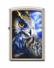 Zippo 1466 Mazzi Owl & Moon Satin Chrome Finish Lighter