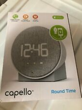 Capello Round Time Table Digital Clock Gray with USB Port to Charge Cell Phone