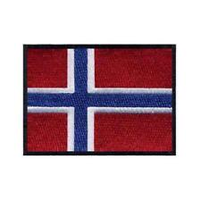 "NORWAY FLAG IRON ON PATCH 3"" Embroidered Applique Norwegian Scandinavian Pride"