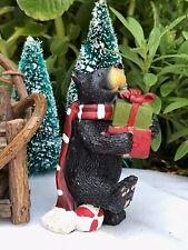 Miniature Dollhouse FAIRY GARDEN ~ Mini CHRISTMAS Black Bear with Presents ~ NEW