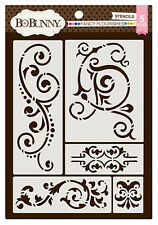 BoBunny FANCY FLOURISHES Set of (5) THICK REUSEABLE STENCILS scrapbooking