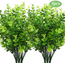 CEWOR 8pcs Artificial Greenery Plants Fake Plastic Boxwood Shrubs Stems for Home
