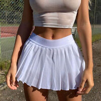 Women A-Line Mini Skirt Solid Color High Waist Safety Pants Pleated Ruffled