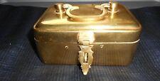 JEWELRY BOX BRASS Trinket with Latch Metal INDIA Handle Keepsake Storage SOLID