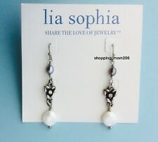 """Lia Sophia """"Mid-Summer Night"""" Matter Silver with Pearls & Cut Crystals Earrings"""