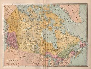 1874 MAP ~ DOMINION OF CANADA ~ BRITISH COLUMBIA ONTARIO QUEBEC NEWFOUNDLAND etc