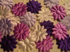 50 fabric FLOWERS Purple Mauve Mix FFE35PM Scrapbook & Craft embellishments