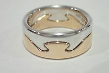 GEORG JENSEN 18k white & rose gold Fusion ring size 48