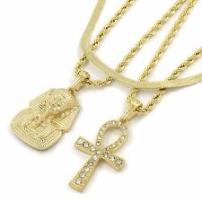 "14k Gold Plated Pharaoh & Cz Ankh Pendant w 4mm 24"" Rope (2) & Herringbone Chain"