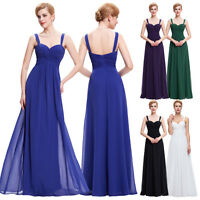 Ladies Chiffon Maxi Dress Formal Evening Cocktail Party Gown Wedding Bridesmaid