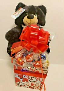 Black Bear Plush Valentine's Day  Lindt Lindor Chocolate Gift Set/Basket