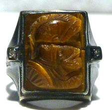 ANTIQUE OLD ESTATE MEN STERLING SILVER 10K GOLD DIAMOND TIGERS EYE INTAGLIO RING
