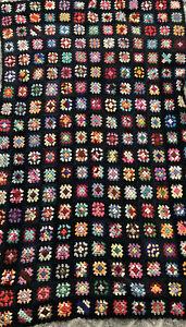 Vintage Granny Square Afghan Blanket Throw Crochet Black Multi Color 44x73 BOHO
