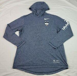 Nike Tee Mens Hoodie Shirt UCONN Huskies Connecticut Blue Heather Large L