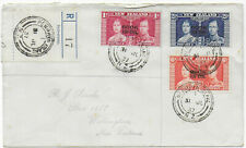 1937 PENRHYN ISLAND NZ Cook Islands KGVI Coronoation registered env->Wellington