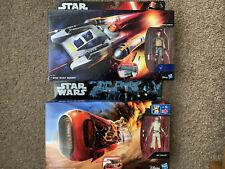 Star Wars REY's SPEEDER BIKE + Y-WING SCOUT BOMBER with Figures HASBRO NEW