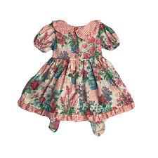 Carters Dress VTG Girls Size 4 T Floral Gingham plaid Button Peter Pan Back tie