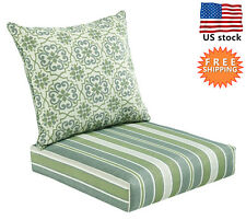 Bossima Outdoor Chair Cushion Patio Deep Seat High Back Pad Set Striped/Damask