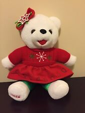 "2015 Walmart Christmas Snowflake Teddy Bear Plush White 20"" Green Red Outfit!"