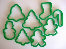 Wilton green plastic christmas tree snowman bell cookie cutter lot of 8