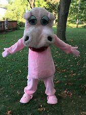 VINTAGE LANDES PINK HIPPO COSTUME MASCOT FURY HALLOWEEN USED HAS WEAR