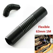 63mm Universal Car Flexible Cold Air Intake Ducting Silicone Pipe Hose Black 1m