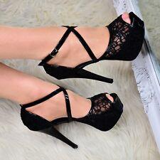 Ladies Stiletto Platform HEELS Strappy Open Toe Sandals Lace Embellished Shoes UK 10 / EU 43 / US 12 Black