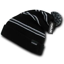 Black Gray White Striped Warm Winter Ski Pom Pom Grey Knit Cuff Beanie Cap Hat