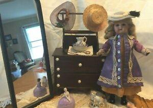 Gorgeous Antique Floradora Doll w/ Dresser, Clothes, Hats, ETC!!