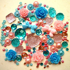 20g Pink+Blue Pearls/Roses/Gems Flatback Kawaii Cabochons Decoden Craft Kitsch