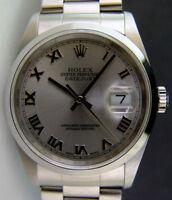 ROLEX - Mens 36mm Stainless Steel DateJust - Rhodium Roman Dial 16200 SANT BLANC