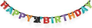21ST HAPPY BIRTHDAY PARTY BANNER MEN WOMEN DECORATION DECO CELEBERATION BUNTING