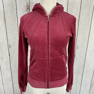 JUICY COUTURE Womens Size L Large Pink Tracksuit Velour Zip Hoodie Jacket