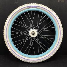 "Schwinn 20"" Front Blue Bicycle Wheel W/ 2 1/4"" White Tire - Bmx Bike Kids #i71"