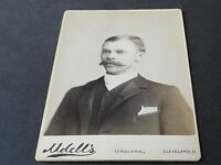 Vintage 1890's-Victorian Man Mustache-Cabinet Photo by Udell's-Cleveland,Ohio.