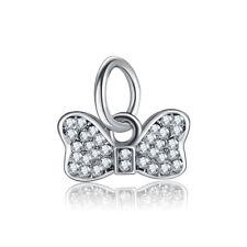 1pcs White Crystal Silver Charm Bowknot pendant Fit European Charm Bracelet