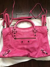 New Authentic BALENCIAGA Pink City 115748 Handbag, Limited Edition Leather