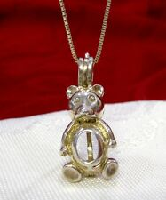 925 STERLING SILVER TEDDY BEAR HOLDING GEMSTONE OPEN PENDANT NECKLACE WITH CHAIN