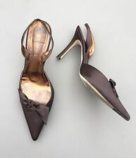 LK Bennett Ladies Size 5 38 Brown Pointy Heel Sandal Stiletto Bow Party Occasion