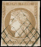 France #1 Used CV$210.00 1850 10c Bister/Yellowish Diamond Grid Scheller